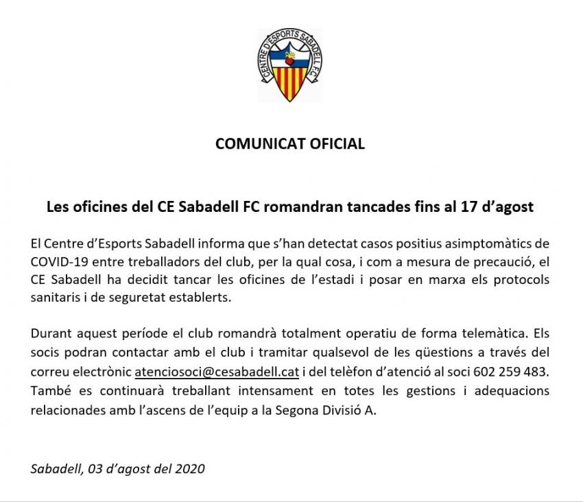 El CE Sabadell para su actividad en el Estadi por el coronavirus